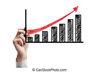 wzrost, handlowy, rysunek