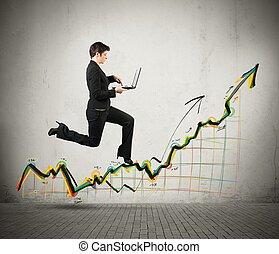 wzrost, powodzenie, handlowy