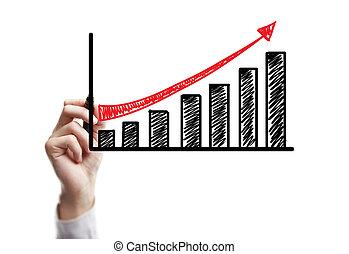 wzrost, rysunek, handlowy
