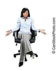 wzruszanie ramionami, krzesło, biuro, kobieta interesu