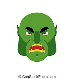 wzruszenie, ludożerca, emoji., isolated., gniewny, zły, twarz, zielony, chochlik, potwór