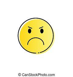 wzruszenie, ludzie, gniewny, żółta twarz, rysunek, ikona