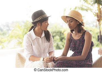 wzruszenie, młodszy, kobieta, dwa, nieszczęśliwy, mówiąc, asian