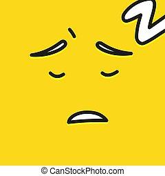 wzruszenie, płaski, illustration., ludzie, żółta twarz, wektor, sen, uśmiechanie się, emoji, rysunek, ikona