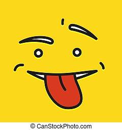 wzruszenie, płaski, uśmiechanie się, illustration., pokaz, ludzie, żółta twarz, mrugnięcie, wektor, język, emoji, rysunek, ikona