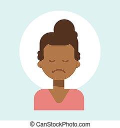 wzruszenie, profil, kobieta, smutny, amerykanka, samiczy afrykanin, ikona, portret, twarz, rysunek