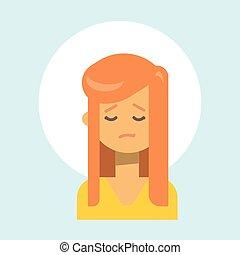 wzruszenie, profil, kobieta, smutny, samica, ikona, portret, twarz, rysunek
