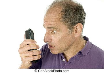 wzruszenie, starszy człowiek, gniewny, telefon