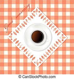xícara branca, de, café, ligado, a, tabela.