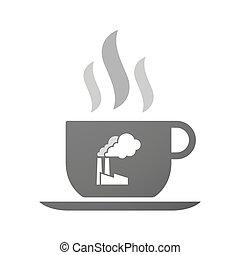 xícara café, ícone, fábrica