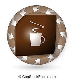 xícara café, abstratos, setas, vetorial, ícone