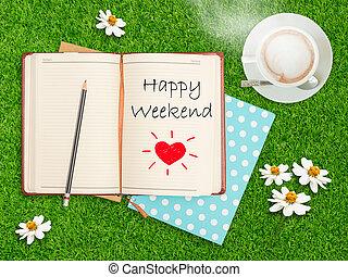 xícara café, caderno, field., capim, fim semana, feliz