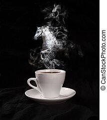 xícara café, cavalo, experiência preta, par