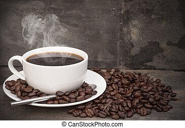 xícara café, cercado, rústico, quentes, feijões, fundo, pequeno almoço, pires