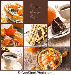 xícara café, colagem, sobremesa, geléia, bolo, mais