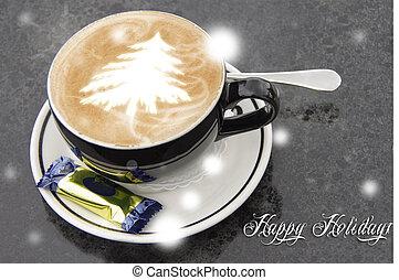 xícara café, com, árvore natal, forma.