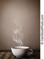 xícara café, com, abstratos, branca, vapor