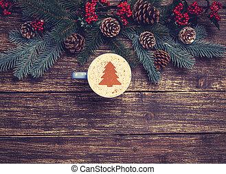 xícara café, com, creme, árvore natal, ligado, um, tabela.