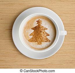 xícara café, com, espuma, e, forma árvore christmas