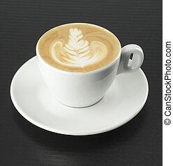 xícara café, com, espuma, forma