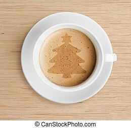 xícara café, com, forma árvore christmas, ligado, espuma