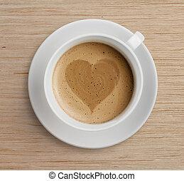 xícara café, com, forma coração, ligado, espuma