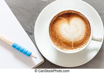 xícara café, com, notepad, ligado, cinzento, fundo