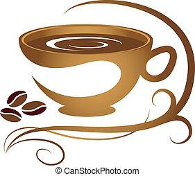 xícara café, com, padrão