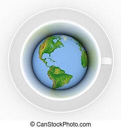 xícara café, com, um, globo, ligado, um, fundo branco