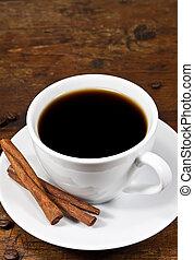 xícara café, com, varas canela