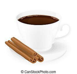 xícara café, com, varas canela, vetorial, ilustração