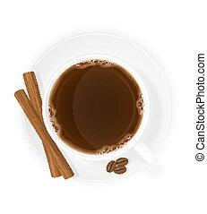 xícara café, com, varas canela, vista superior, vetorial, ilustração