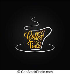 xícara café, desenho, fundo, sinal