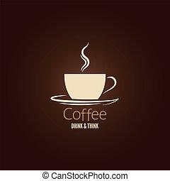 xícara café, desenho, fundo
