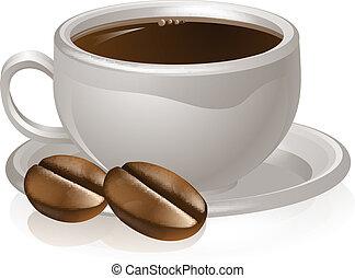 xícara café, e, feijões