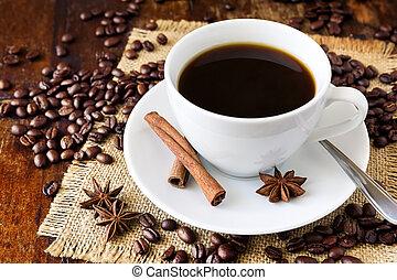xícara café, e, feijões, ligado, tabela madeira