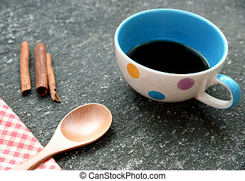 xícara café, e, varas canela