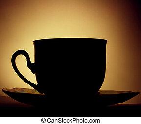 xícara café, em, backlight