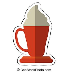 xícara café, espresso, caricatura, creme