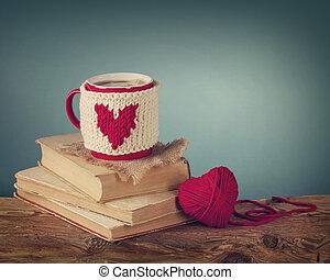 xícara café, ficar, ligado, um, antigas, livro