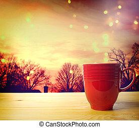 xícara café, fundo, crepúsculo
