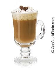 xícara café, isolado, branco
