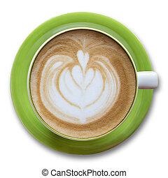 xícara café, isolado, branco, vista superior