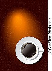 xícara café, ligado, a, escrivaninha