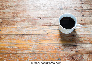 xícara café, ligado, antigas, tabela madeira
