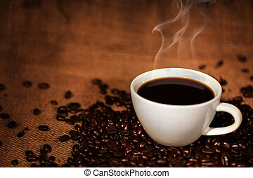xícara café, ligado, assado, feijões café