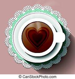 xícara café, ligado, um papel, guardanapo