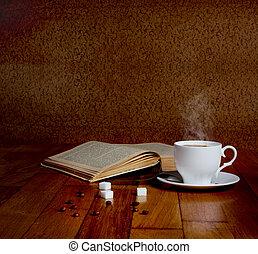 xícara café, madeira, ler, quentes, livros, fresco, tabela,...