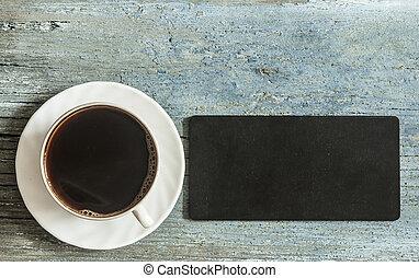 xícara café, madeira, quadro-negro, texto, quentes, fundo, pequeno, seu, vazio
