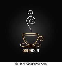 xícara café, ornate, desenho, fundo